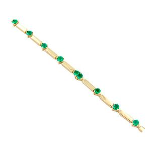 18K yellow gold emerald bracelet with 12 round cut emeralds