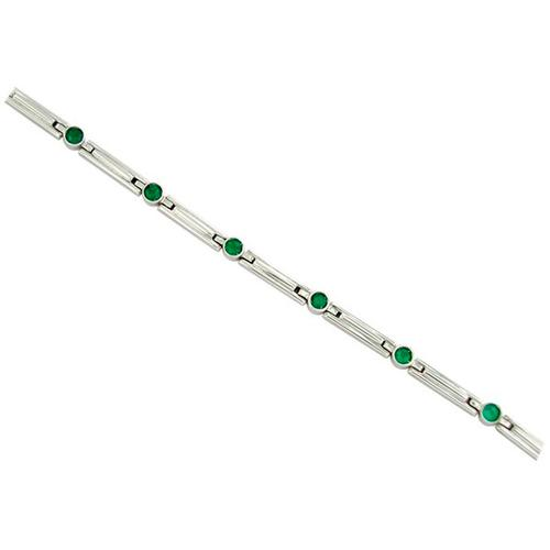 Bezel Setting Emerald Bracelet in 18K White Gold With Round Natural Emeralds