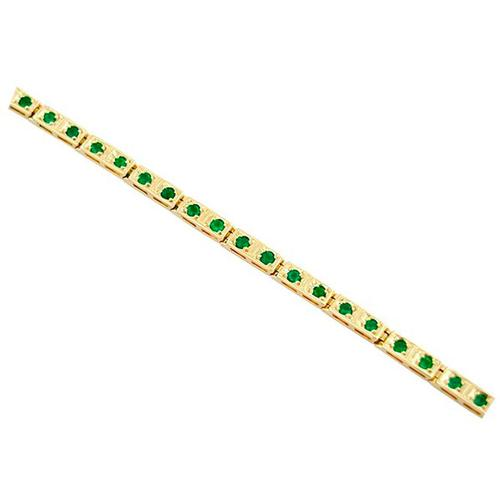 18K yellow gold emerald bracelet with 34 round emeralds