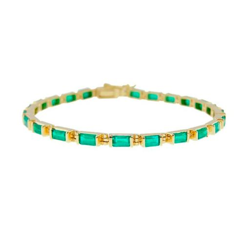 Emerald bracelet in 18K yellow gold tennis bracelet style and baguette emeralds