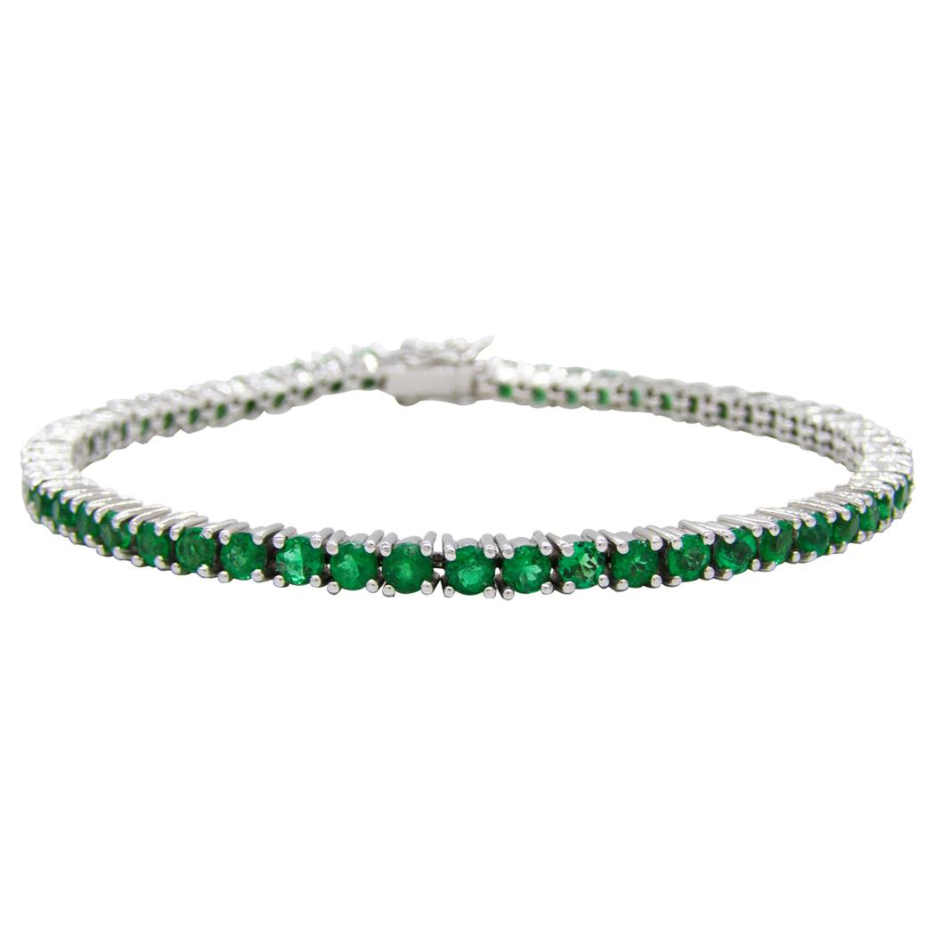 Emerald Tennis Bracelet in 18K White Gold With Round Natural Emeralds