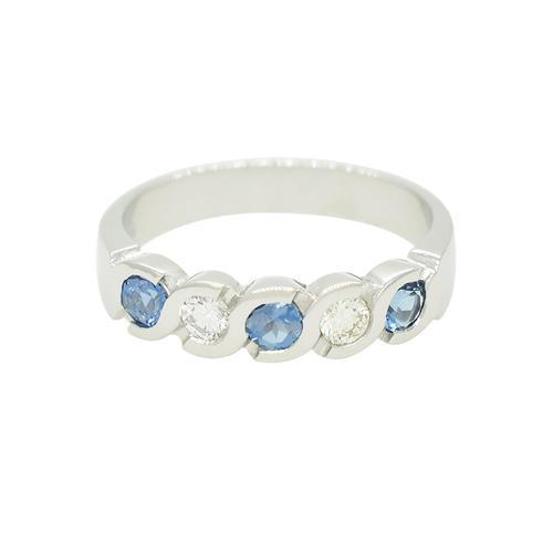 Aquamarine and Diamond Wedding Ring Band in 18K White Gold Bezel Setting