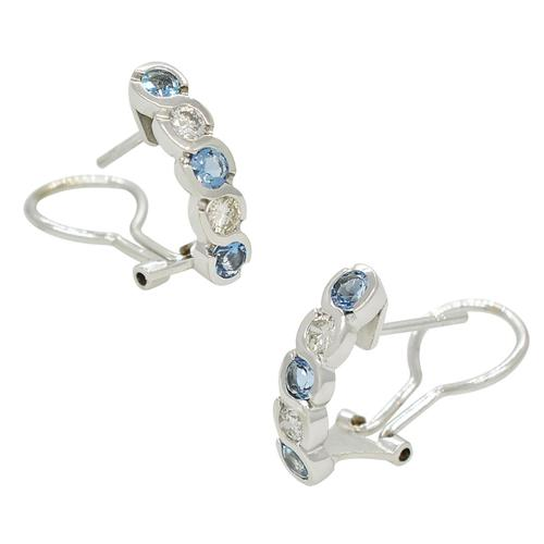 Drop Earrings in 18K White Gold with Diamonds and Aquamarines in Bezel Setting