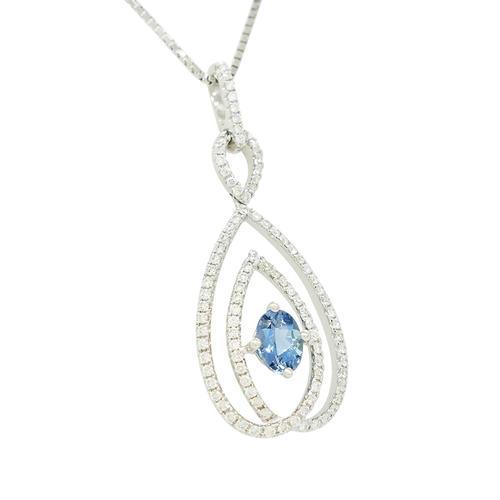 Aquamarine Pendant With Oval Shape Aquamarine and Round Diamonds in Micro Pave