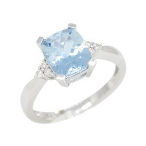 Diamond and Aquamarine Ring With Stunning Blue Color Cushion Cut Aquamarine