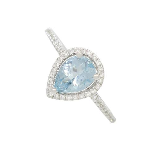 Pear Shape Aquamarine Ring with Round Diamonds in White Gold