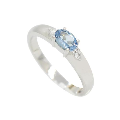 East West 3 Stones Aquamarine and Diamond Ring in 18K White Gold