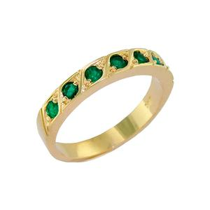 Antique Style Round Emerald Wedding Band in 18K Yellow Gold