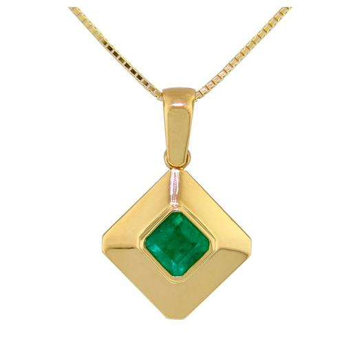 18K Gold Bezel Setting Solitaire Pendant With Square Natural Emerald