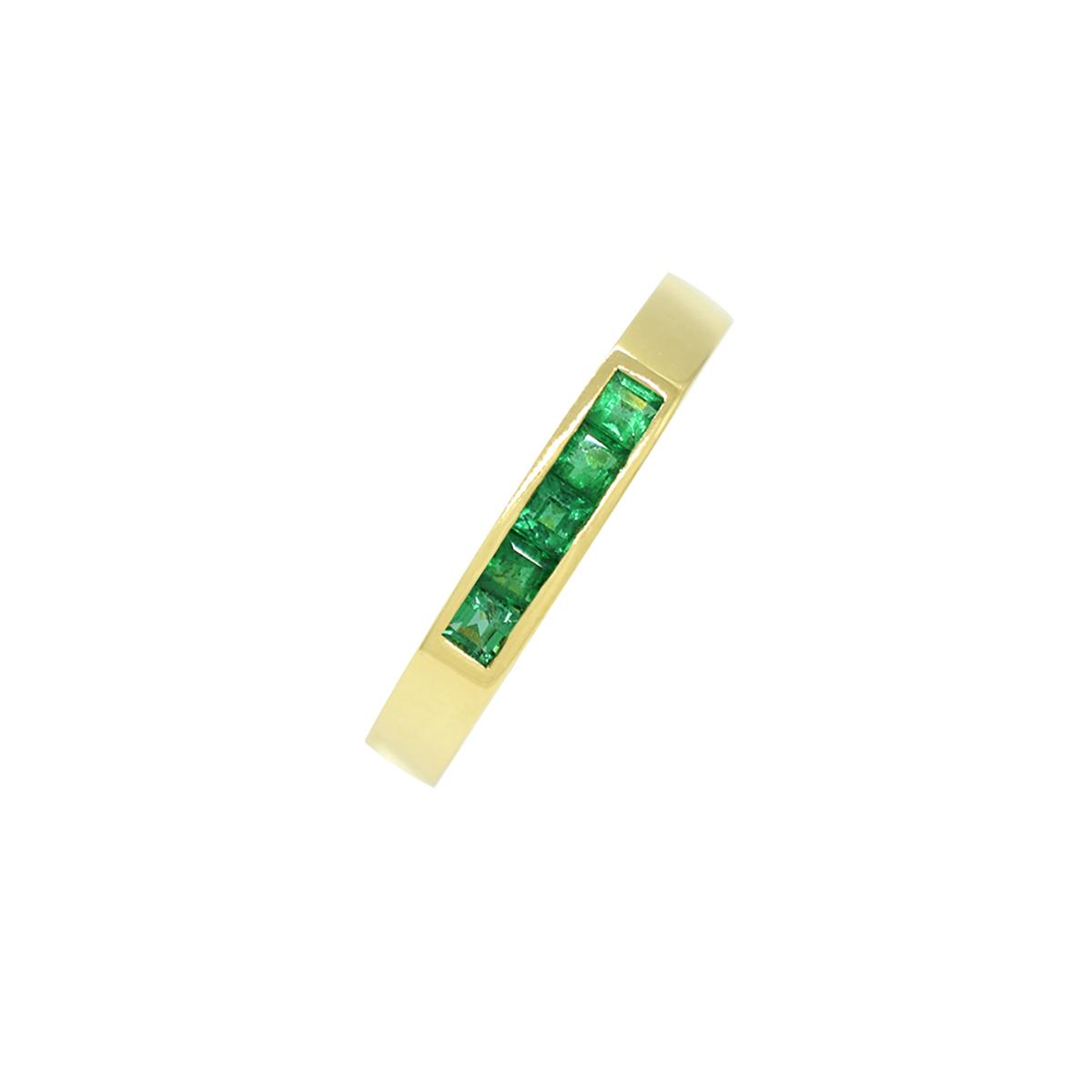 channel-set-band-ring-with-princess-cut-natural-emeralds-in-18k-yellow-gold