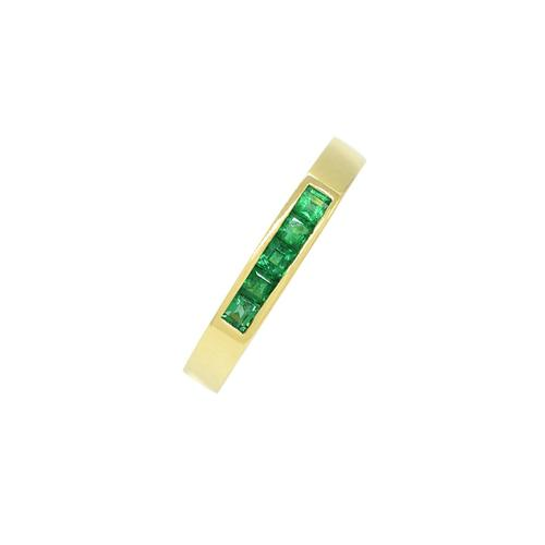 Channel Set Band Ring With Princess Cut Natural Emeralds in 18K Yellow Gold