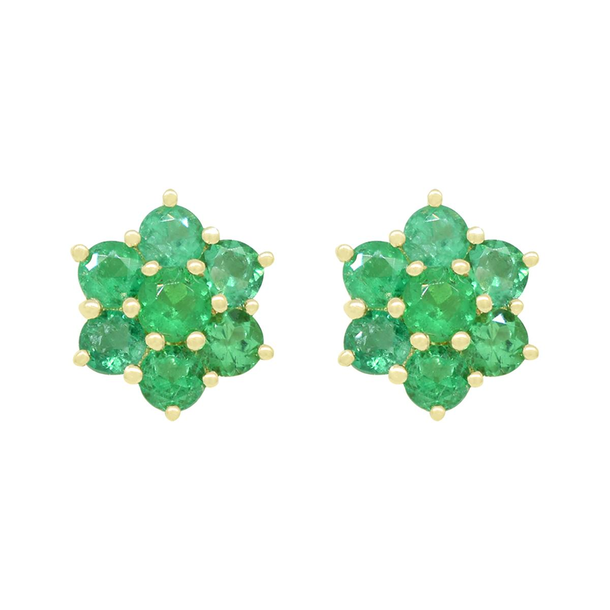 emerald-earrings-in-18k-yellow-gold-cluster-style