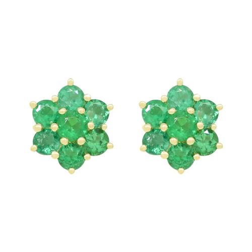 Emerald Earrings in 18K Yellow Gold Cluster Style
