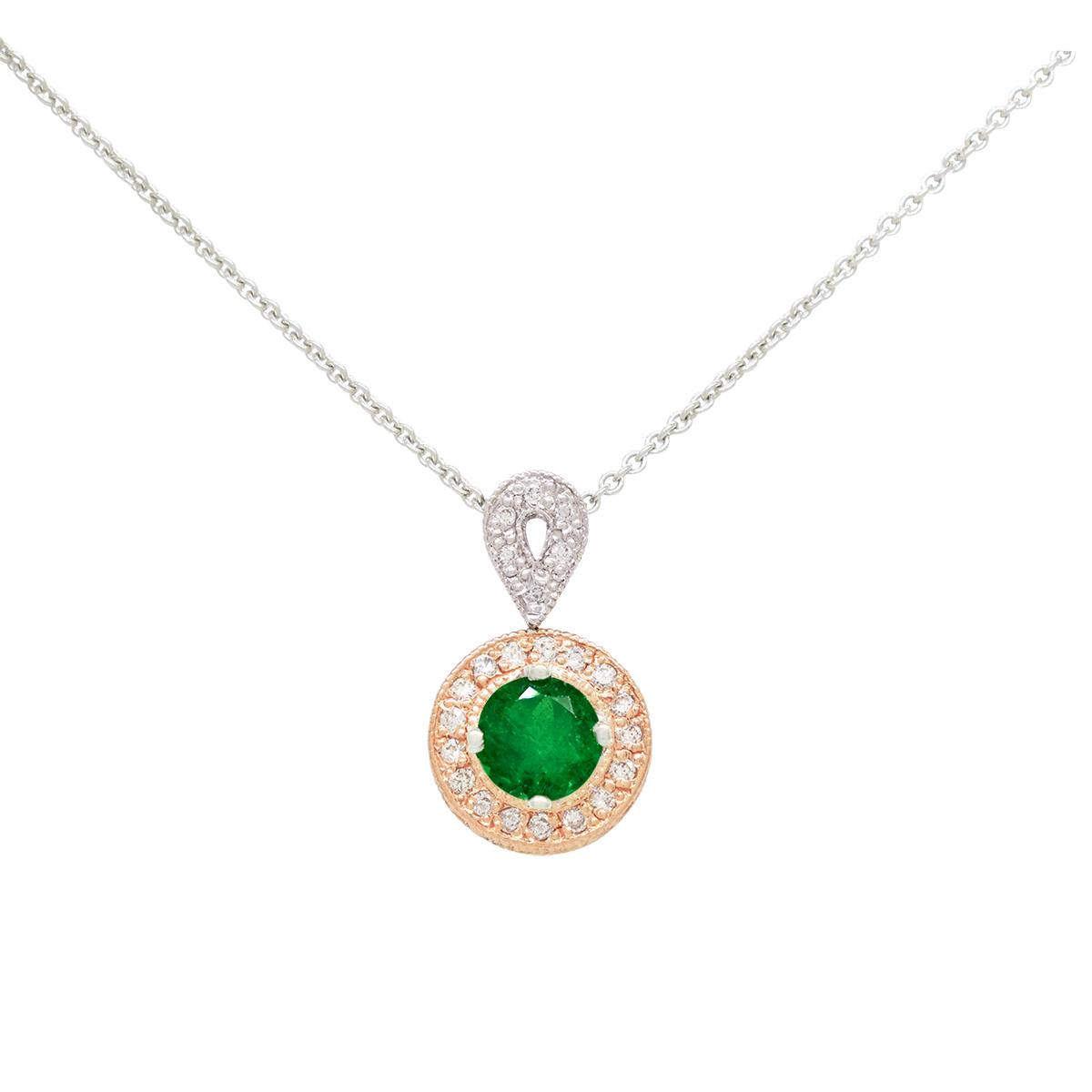 18k-white-and-rose-gold-emerald-and-diamond-necklace