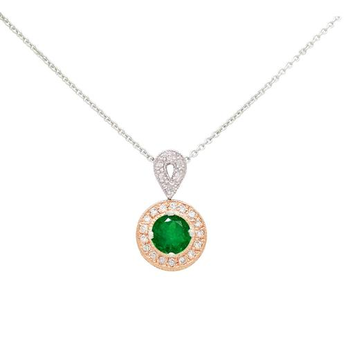 18K White and Rose Gold Emerald and Diamond Necklace