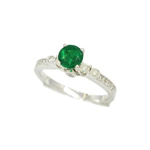 Dainty Emerald Engagement Ring with Round Diamonds in Fine Micro Pave Setting