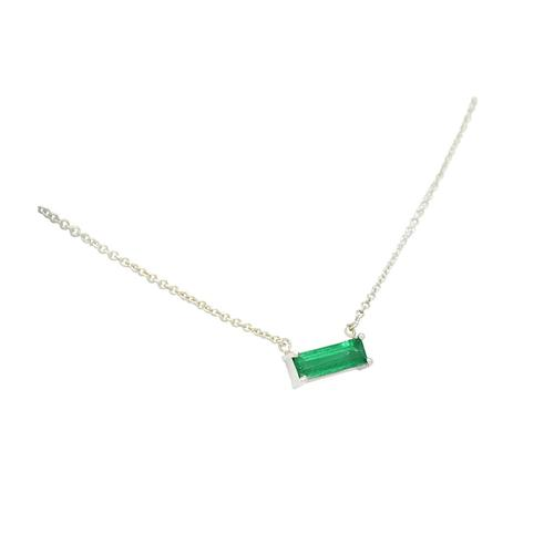 18K White Gold Solitaire Emerald Necklace with Baguette Cut Natural Colombian Emerald