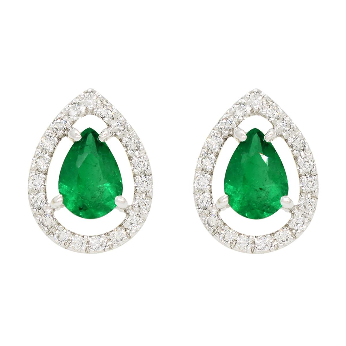 emerald-earrings-in-18k-white-gold-with-2-pear-shape-emeralds-and-diamond-halo