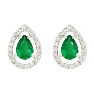 Emerald Earrings in 18K White Gold with 2 Pear Shape Emeralds and Diamond Halo