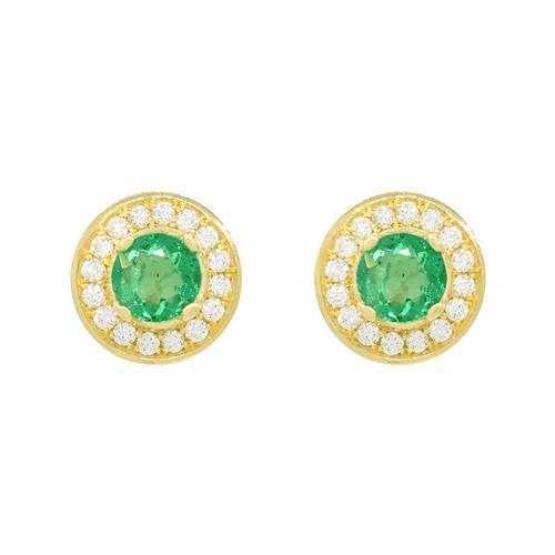 18K Yellow Gold Emerald and Diamond Stud Earrings in Micro Pave Setting