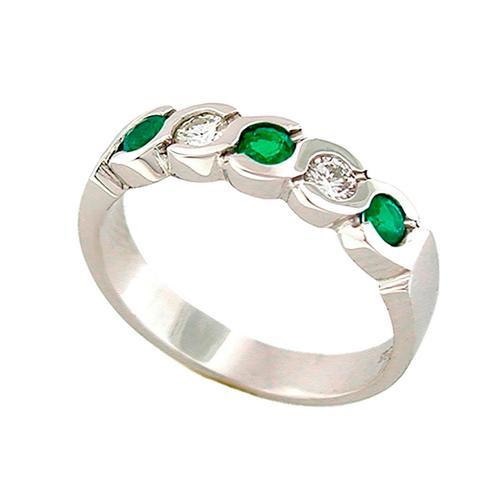 Emerald and Diamond Half Eternity Wedding Band in 18K White Gold Bezel Setting