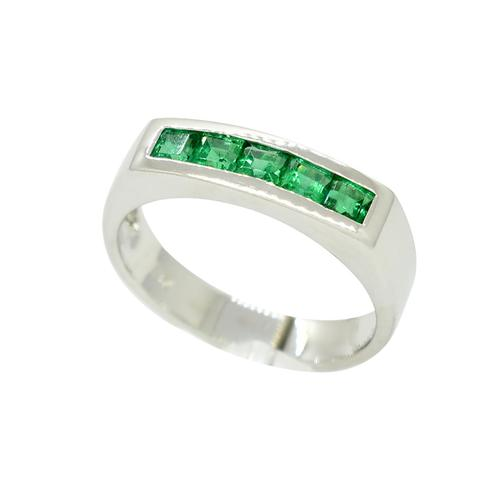 Channel Set Emerald Wedding Band with Square Emeralds in 18K White Gold