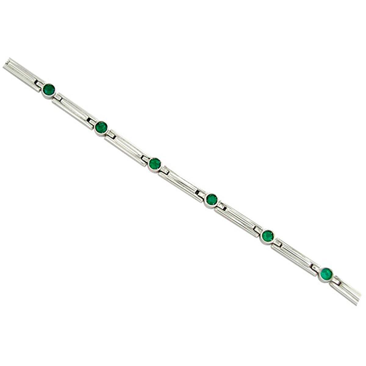 round-natural-emeralds-in-18k-white-gold-bracelet-in-bezel-setting
