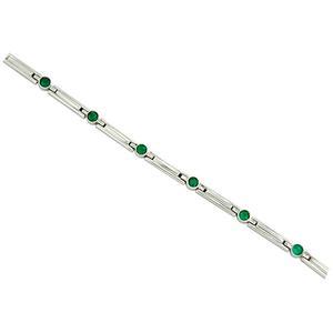 Round Natural Emeralds in 18K White Gold Bracelet in Bezel Setting