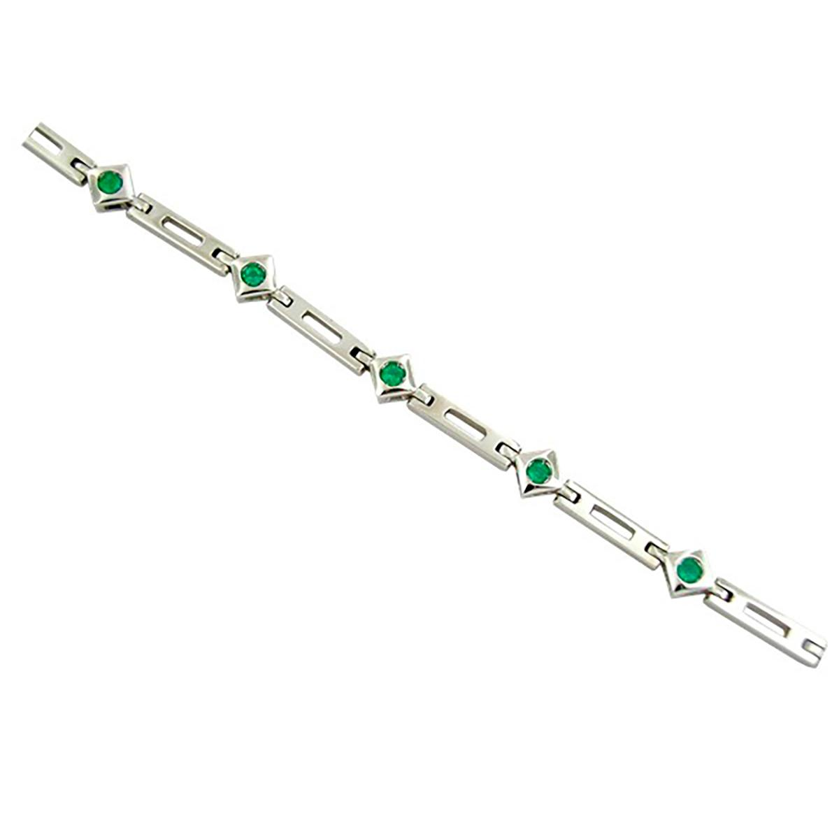 emerald-bracelet-in-18k-white-gold-with-9-round-cut-natural-emeralds