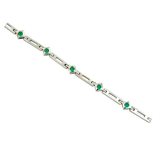 Emerald Bracelet in 18K White Gold With 9 Round Cut Natural Emeralds