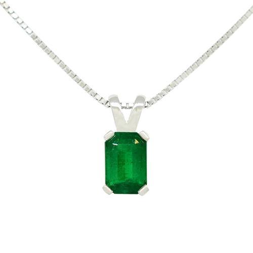 Emerald Cut Emerald Set in 18K White Gold Solitaire Pendant