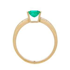Emerald Cut Emerald Solitaire Ring in 18K Yellow Gold Tension Setting Ring Style