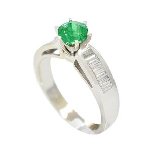 White Gold Emerald Engagement Ring With Round Natural Emerald and Baguette Cut Diamonds
