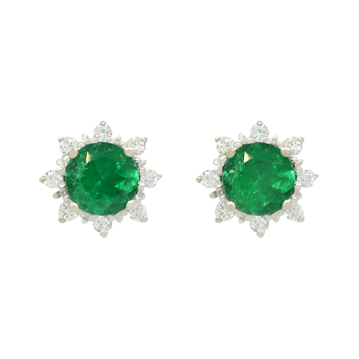 emerald-and-diamond-stud-earrings-in-18k-white-gold-dark-green-emeralds-and-diamond-halo