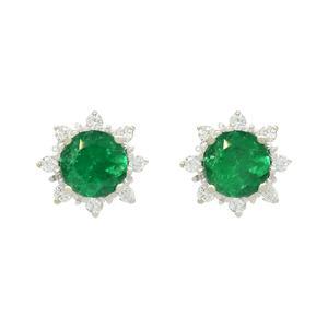 Emerald and Diamond Stud Earrings in 18K White Gold Dark Green Emeralds and Diamond Halo
