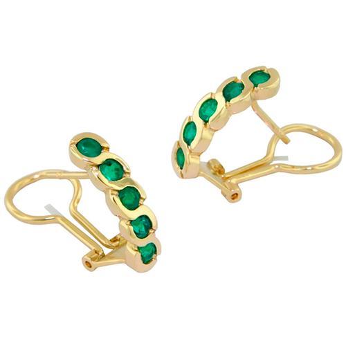 Drop Emerald Earrings in 18K Yellow Gold Bezel Setting With Clip Backs