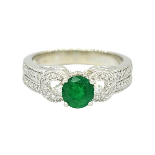 Emerald Ring in 14K White Gold With 44 Round Diamonds in Micro Pave Setting