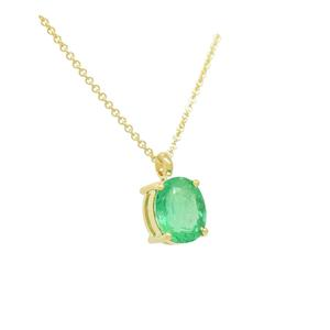Solitaire Emerald Necklace in 18K Yellow Gold With Oval Shape Natural Emerald