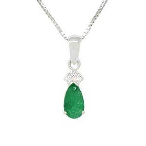 Teardrop Emerald and Diamond Pendant in 18K White Gold Prong Setting