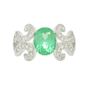 Stunning White Gold Emerald Ring with Oval Shape Genuine Emerald and 44 Round Diamonds