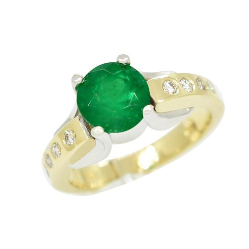 Emerald Ring in 14K Gold Two Tone Ring and Diamond Accents