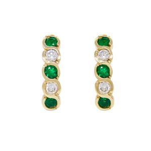 Drop Emerald and Diamond Earrings in 18K Yellow Gold Clip Backs