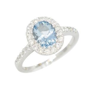 Stunning Aquamarine Ring With Oval Shape Genuine Aquamarine and Diamond Halo