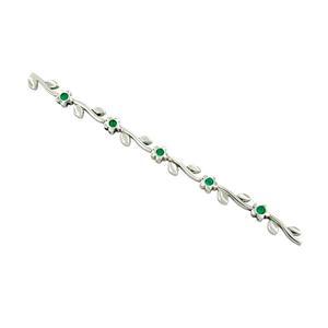 Dainty Emerald Bracelet in 18K White Gold Flower Design