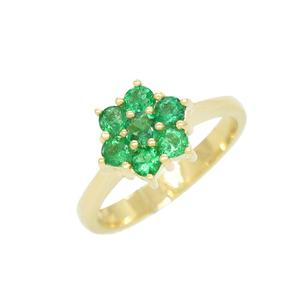 Cluster Ring in 18K Yellow Gold With 7 Round Cut Emeralds