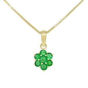 Flower Design Emerald Pendant in 18K Yellow Gold With 7 Round Emeralds