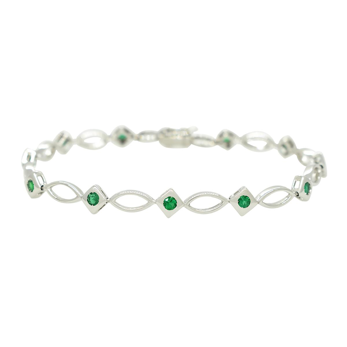 emerald-bracelet-in-18k-white-gold-with-11-round-cut-natural-emeralds