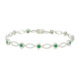 Emerald Bracelet in 18K White Gold With 11 Round Cut Natural Emeralds
