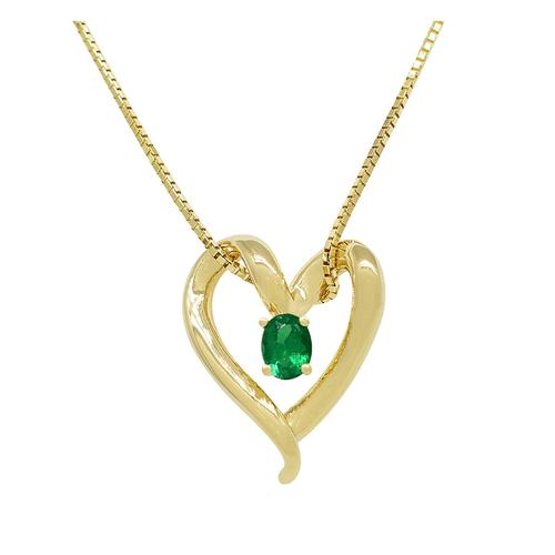Yellow Gold Heart Shaped Necklace with Oval Shape Natural Emerald