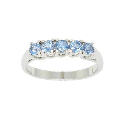 18K White Gold Aquamarine Half Eternity Wedding Band Ring